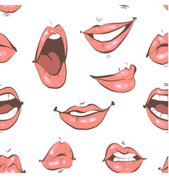 various emotional lips fashion seamless pattern on vector image