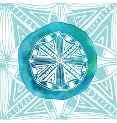 Watercolor blue mandala with ornamental vector