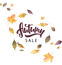 watercolor card with hand lettering autumn vector image