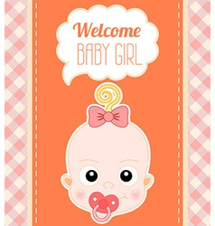 Welcome Baby Girl Card vector image