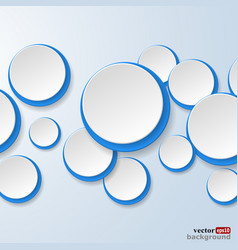 White and blue paper circles vector image