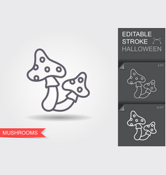 Witchcraft mushrooms line icon with editable vector