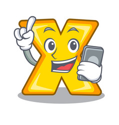 with phone character cartoon multiply sign for vector image