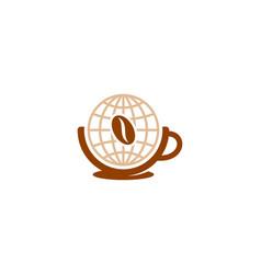 world coffee logo icon design vector image