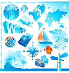 World travel set vector