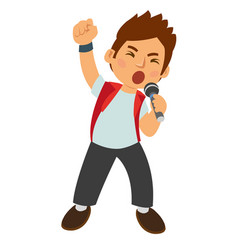 young boy singing rock music at the party vector image