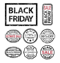 black friday rubber stamps set vector image