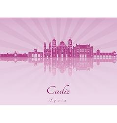 Cadiz skyline in purple radiant orchid vector image vector image