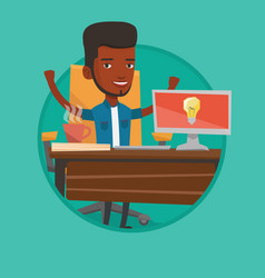 creative excited businessman having business idea vector image