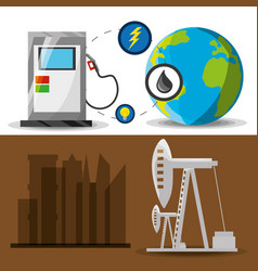 Flat landscape releated gasoline and fossil energy vector