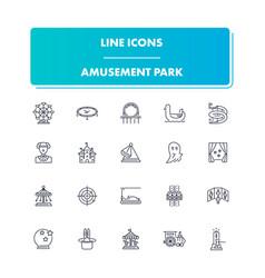 line icons set amusement park vector image