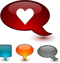 Love speech comic icons vector