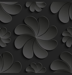 seamless pattern black 3d paper flower circle 3d vector image vector image