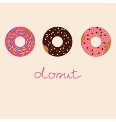 Set of sweet donuts with caramel topping vector image