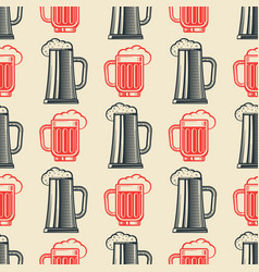 vintage beer glasses semless pattern vector image