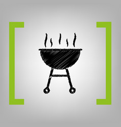 barbecue simple sign black scribble icon vector image