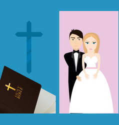 get married couple bible cross sacred card vector image vector image