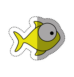 sticker colorful silhouette fish aquatic animal vector image vector image