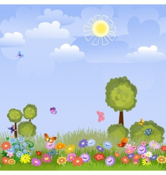 summer landscape with flowers vector image vector image