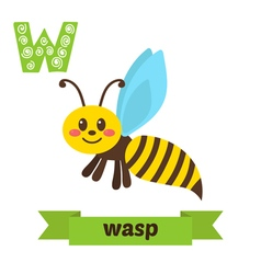 Wasp W letter Cute children animal alphabet in vector image