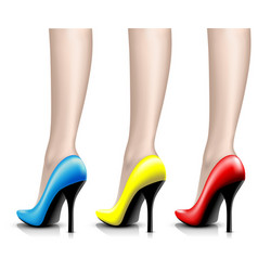 womens shoes from a varnish on leg vector image