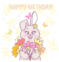 bunny and flowers vector image vector image