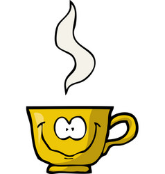 cartoon doodle merry cup of coffee vector image