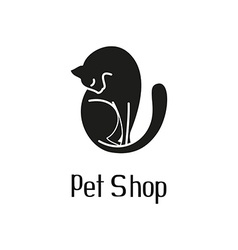 Cute pet shop logo with cat vector image