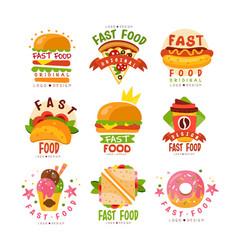 fast food logos set food and drink menu burger vector image
