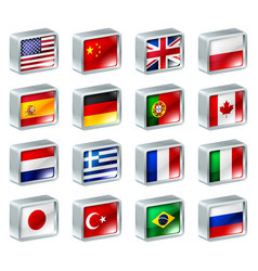 flag icons buttons vector image