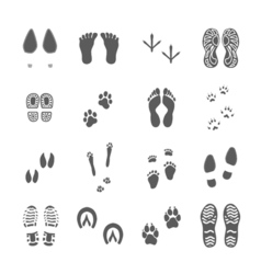 Various Footprints Set Black On White vector image vector image