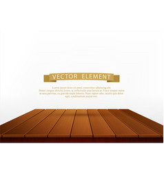 wooden table isolated on white background element vector image vector image