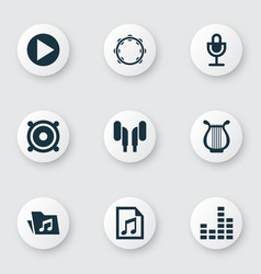 audio icons set collection of mike start lyre vector image