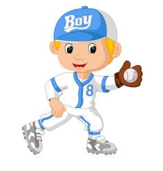 baseball player catching ball vector image