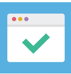 Browser and Check Mark Icon vector image