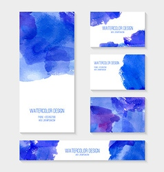 Cards with abstract watercolor stains vector image