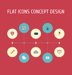 Flat icons writing scheme photo and other vector
