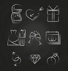 wedding thin line icons on chalkboard vector image