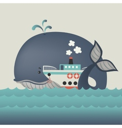 Whale and steamship in blue sea vector image vector image