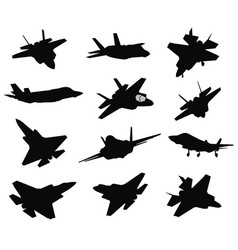 12 military aircrafts set vector