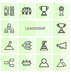14 leadership icons vector