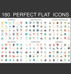 180 modern flat icons set of household home vector image
