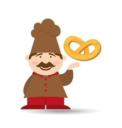 baker holding pretzel vector image