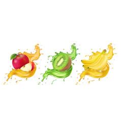 banana kiwi and apple fruit juice splashes vector image