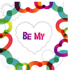 Be my valentine instagram card in trendy color vector
