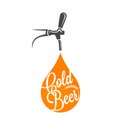 beer tap logo beer drop on white background vector image