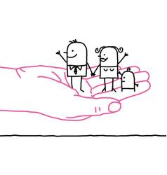 Big hand and cartoon family - kindness vector