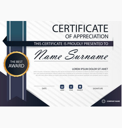 blue elegance horizontal certificate with vector image