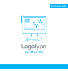 blue logo design for synchronization sync vector image