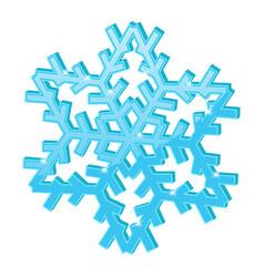 Blue snowflake 3d symbol vector